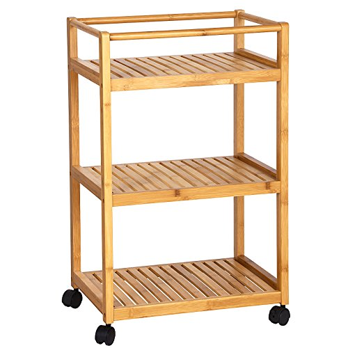 Songmics Bamboo Kitchen Storage Cart Rack With 3 Shelves