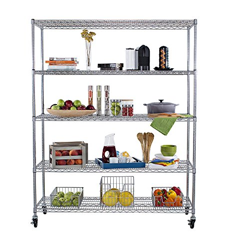 Slip Sleeves For Wire Shelving | Trinity 5 Tier Nsf Heavy Duty X Large Wire Shelving Rack With Wheels